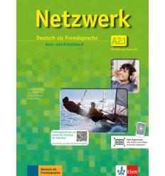 Учебник Netzwerk A2 Kursbuch und Arbeitsbuch Teil 1 +2 CDs + DVD ISBN 9783126061421