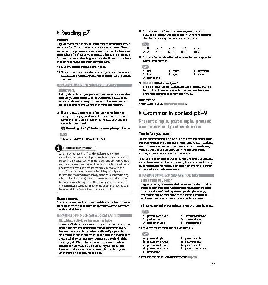 Решебник по английскому языку gateway b1 workbook.
